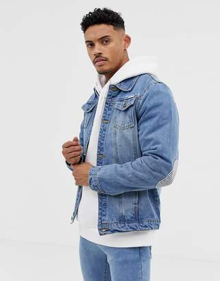 N. Liquor Poker denim jacket with print and elbow patches in blue wash
