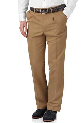 Charles Tyrwhitt Tan Classic Fit Single Pleat Washed Cotton Chino Pants Size W34 L34