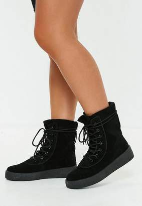 Missguided Black High Top Lace Up Platforms
