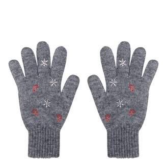 Grey Embellished Wool Blend Gloves