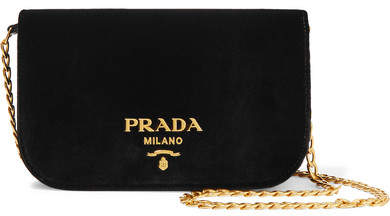Prada Wallet On A Chain Velvet Shoulder Bag - Black