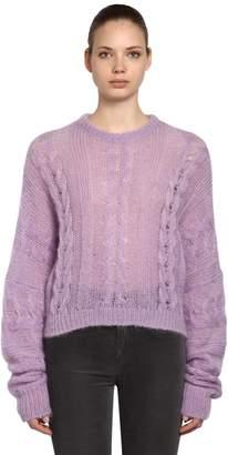 Miu Miu Sheer Mohair Blend Cable Knit Sweater