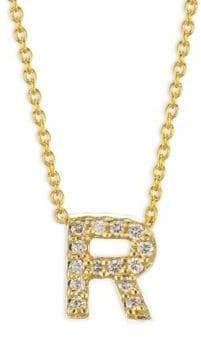 Roberto Coin Tiny Treasures Diamond& 18K Yellow Gold Letter R Necklace