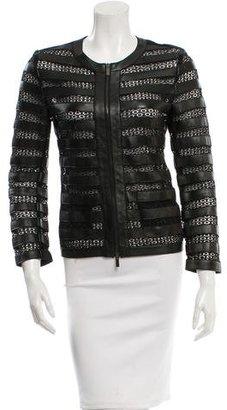 Armani Collezioni Lace-Trimmed Leather Jacket $290 thestylecure.com