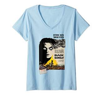 Womens STARE INTO THESE EYES Creepy Horror Movie-Retro Movie Poster V-Neck T-Shirt