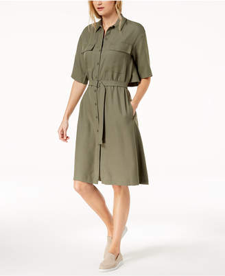 Lacoste Popover-Back Piqué Belted Shirtdress