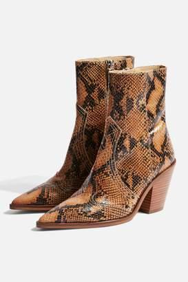 Topshop HARLEM Snake Western Boots