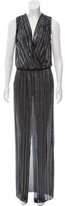 L'Agence Sleeveless Metallic Maxi Dress