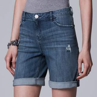 Vera Wang Women's Simply Vera Cuffed Bermuda Jean Shorts