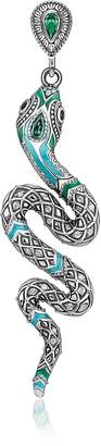 Thomas Sabo Blackened Sterling Silver, Enamel and Glass-ceramic Stones Snake Earring