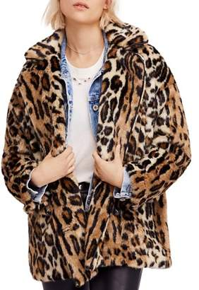 Free People Kate Faux-Fur Leopard Coat
