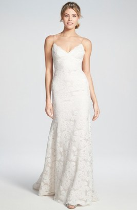 Women's Katie May 'Lanai' Convertible Cap Sleeve Lace Low Back Gown $1,895 thestylecure.com
