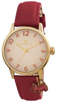 Radley Ladies Watch With Gold Plated Case And Red Genuine Leather Strap Ry2250