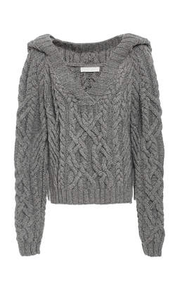Elia Partow Cable Hand Knit Hoodie