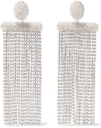 Oscar de la Renta - Silver-tone, Bead And Crystal Clip Earrings $450 thestylecure.com