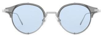 Gentle Monster Double Erok 50Mm Cat Eye Sunglasses - Silver/ Blue $305 thestylecure.com