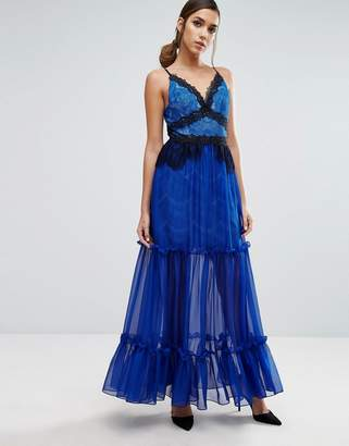Three floor Tiered Maxi Dress with Lace Detail