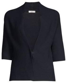 Peserico Three-Quarter Sleeve Ribbed Cardigan
