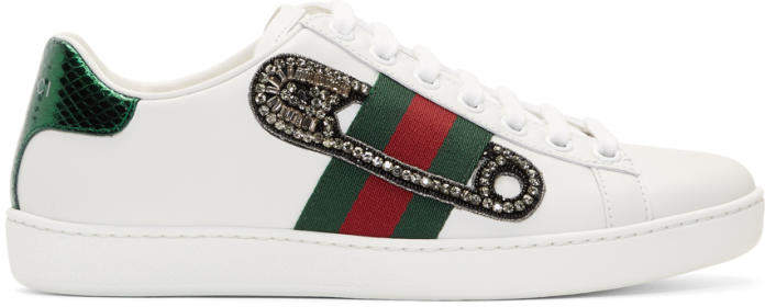 Gucci White Safety Pin Ace Sneakers