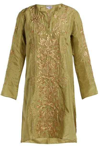 Floral Embroidered Silk Kaftan – Womens – Green Gold