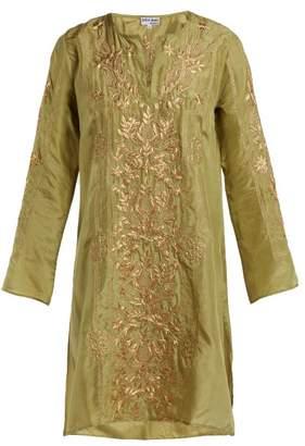 Juliet Dunn Floral Embroidered Silk Kaftan - Womens - Green Gold