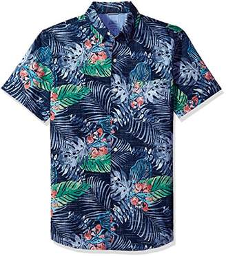 Izod Men's Dockside Chambray Print Short Sleeve Shirt (Regular and Slim Fit)