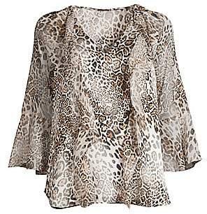 Elie Tahari Women's Faith Silk-Blend Leopard Bell-Sleeve Blouse