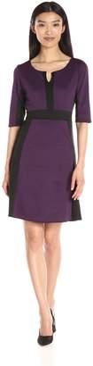 N. Star Vixen Women's Elbow Sleeve Ponte Knit Colorblock Fit Flare Dress, Purple/Black