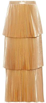 Stella McCartney Metallic Tiered Plissé Midi Skirt