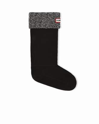 Hunter WOMEN'S 6 STITCH CABLE BOOT SOCK GREY/BLACK MEDIUM