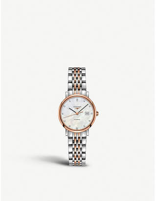 Longines L4.310.5.87.7 Elegant diamond, mother-of-pearl and rose gold-plated stainless steel watch
