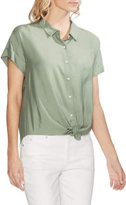 Vince Camuto Tie Front Hammered Satin Blouse