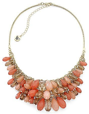 JCPenney Coral & Goldtone Bib Necklace