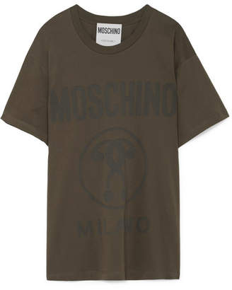 Moschino Embroidered Cotton-jersey T-shirt - Army green