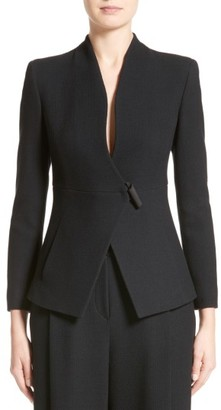 Women's Armani Collezioni Textured Stretch Wool Jacket $1,195 thestylecure.com