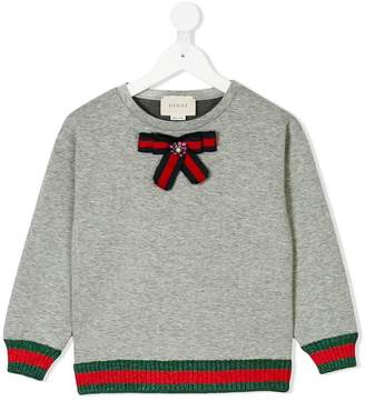 Gucci Kids Web trim bow sweatshirt