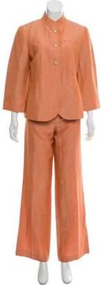 Lafayette 148 Mid-Rise Linen Pantsuit Set Orange 148 Mid-Rise Linen Pantsuit Set