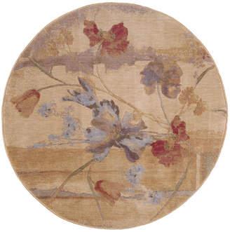"""Nourison Closeout! Round Area Rug, Somerset ST18 Art Flower Beige 5' 6"""""""