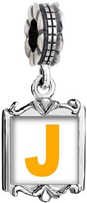 GiftJewelryShop Silver Plated Yellow Letter J Photo Family Mom & Baby Girl & Dad Dangle Bead Charm Bracelet