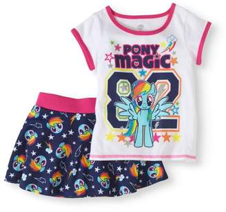 My Little Pony Toddler Girls' T-Shirt and Skater Scooter Skirt 2-Piece Outfit Set