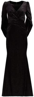 Talbot Runhof Metallic Donut-Sleeve Gown