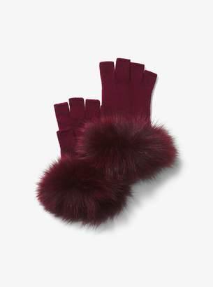 MICHAEL Michael Kors Fur-Trimmed Cashmere Gloves