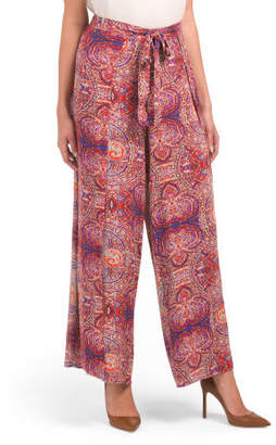 Wide Leg Wrap Pants With Tie