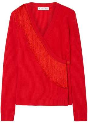 Altuzarra Daumier Fringed Ribbed Merino Wool Wrap Sweater