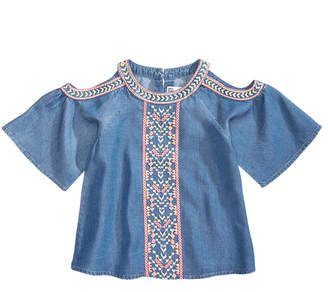 Epic Threads Embroidered Cold-Shoulder Top, Little Girls, Created for Macy's