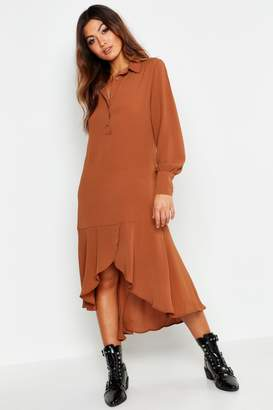 boohoo Shirt Dress Hem Ruffle Detail Midi Dress