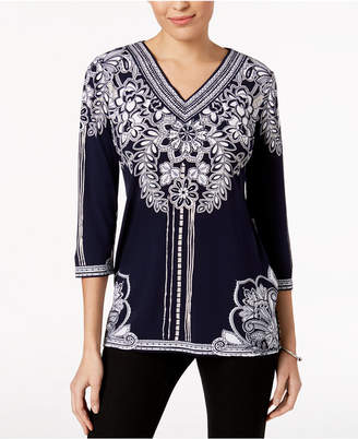 JM Collection Printed Studded Tunic