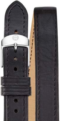 Michele 18mm Double Wrap Leather Strap Watch