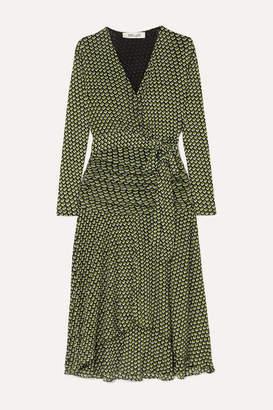 Diane von Furstenberg Rilynn Printed Stretch-jersey Wrap Dress - Army green