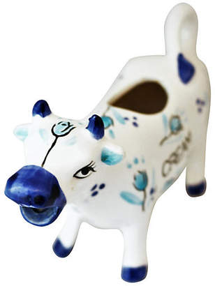 One Kings Lane Vintage Blue & White Cow Creamer - Reclaimed Collection